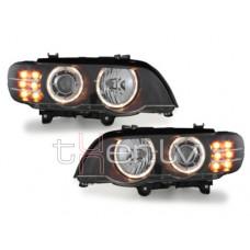 BMW X5 e53 (99-04) xenon lukturi, LED pagriezienu rādītāji, melni