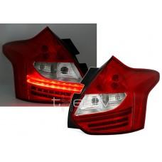 Ford Focus MK3 (11-14) aizmugurējie lukturi, LED red/crystal